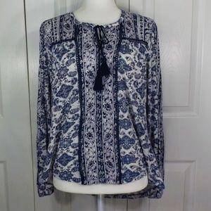 Lucky Brand White w Blue Designs w Tie w Tassels M